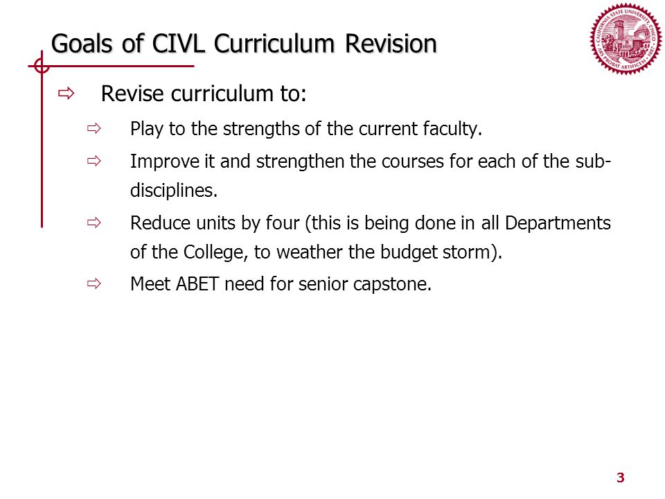 3 Goals of CIVL Curriculum Revision  Revise curriculum to:  Play to the strengths of the current faculty.