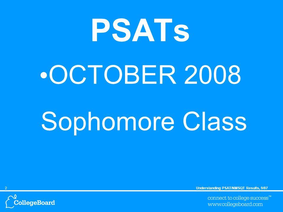 2Understanding PSAT/NMSQT Results, 9/07 PSATs OCTOBER 2008 Sophomore Class