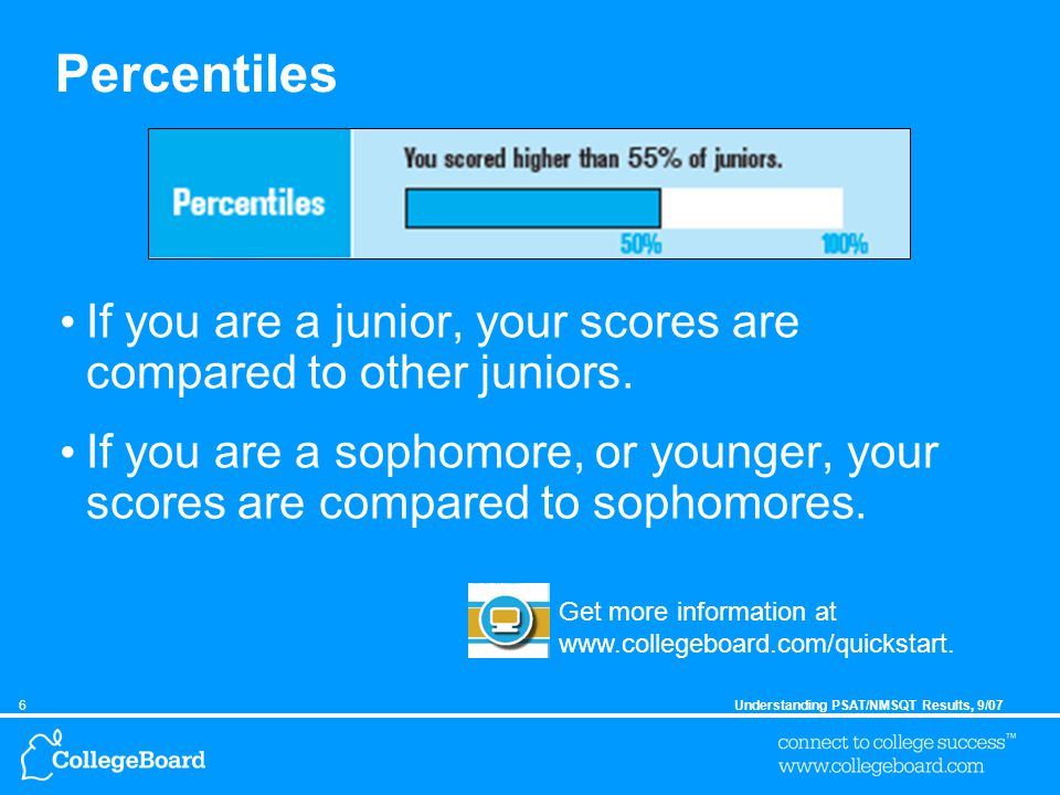 6Understanding PSAT/NMSQT Results, 9/07 Percentiles If you are a junior, your scores are compared to other juniors.