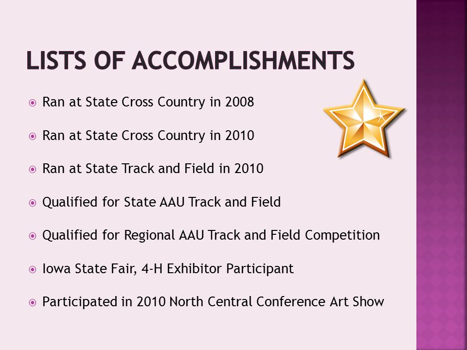  Ran at State Cross Country in 2008  Ran at State Cross Country in 2010  Ran at State Track and Field in 2010  Qualified for State AAU Track and Field  Qualified for Regional AAU Track and Field Competition  Iowa State Fair, 4-H Exhibitor Participant  Participated in 2010 North Central Conference Art Show