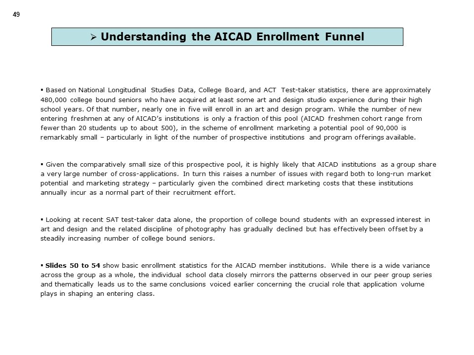  Understanding the AICAD Enrollment Funnel  Based on National Longitudinal Studies Data, College Board, and ACT Test-taker statistics, there are approximately 480,000 college bound seniors who have acquired at least some art and design studio experience during their high school years.