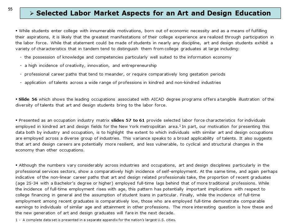  Selected Labor Market Aspects for an Art and Design Education  While students enter college with innumerable motivations, born out of economic necessity and as a means of fulfilling their aspirations, it is likely that the greatest manifestations of their college experience are realized through participation in the labor force.