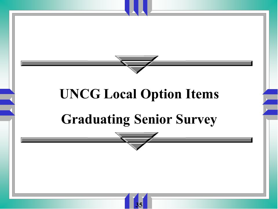 35 UNCG Local Option Items Graduating Senior Survey