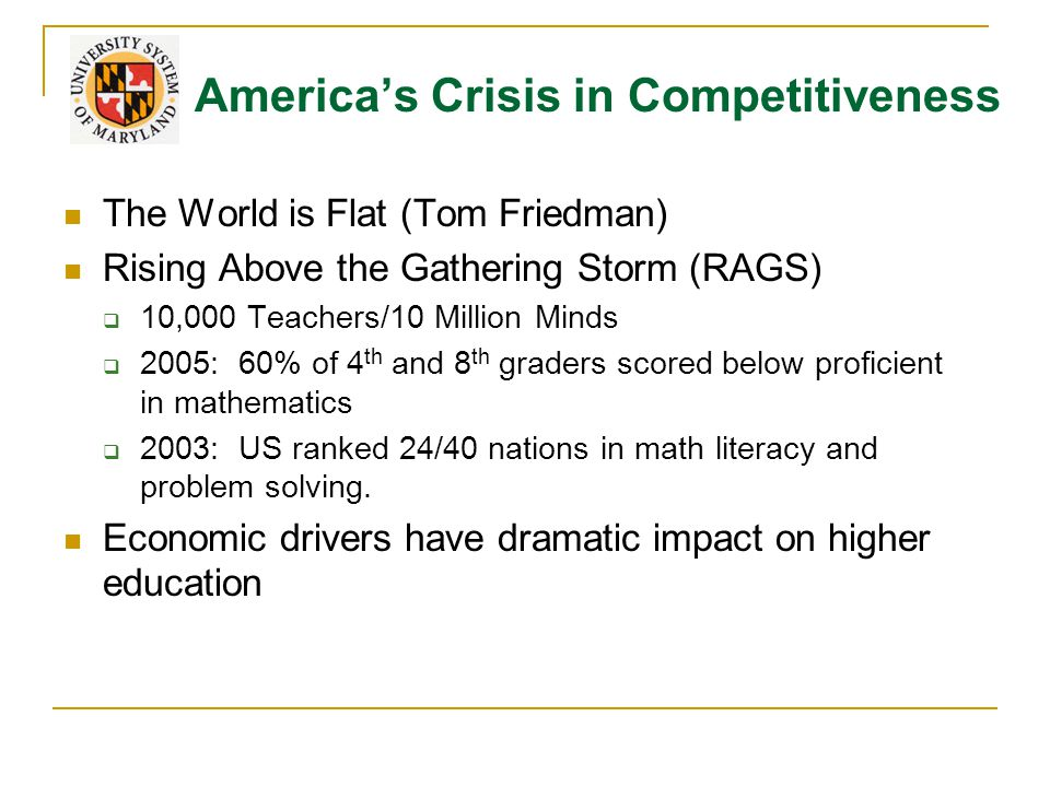America's Crisis in Competitiveness The World is Flat (Tom Friedman) Rising Above the Gathering Storm (RAGS)  10,000 Teachers/10 Million Minds  2005: 60% of 4 th and 8 th graders scored below proficient in mathematics  2003: US ranked 24/40 nations in math literacy and problem solving.