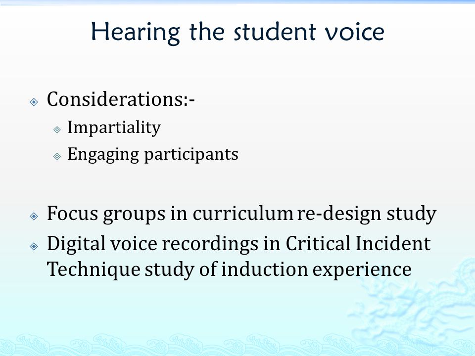 Curriculum re-design  Carried out over three years  11 focus groups of 3-7 participants (n=44)  Underperforming 2 nd year core module, with low mean marks and pass rate 1.