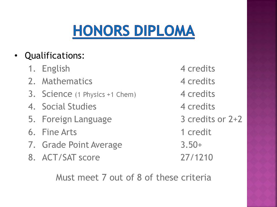 Qualifications: 1.English4 credits 2.Mathematics4 credits 3.Science (1 Physics +1 Chem) 4 credits 4.Social Studies4 credits 5.Foreign Language3 credits or 2+2 6.Fine Arts1 credit 7.Grade Point Average3.50+ 8.ACT/SAT score27/1210 Must meet 7 out of 8 of these criteria