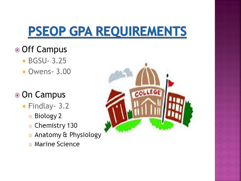  Off Campus  BGSU- 3.25  Owens- 3.00  On Campus  Findlay- 3.2 Biology 2 Chemistry 130 Anatomy & Physiology Marine Science