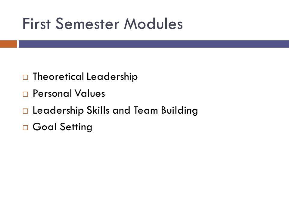 First Semester Modules  Theoretical Leadership  Personal Values  Leadership Skills and Team Building  Goal Setting