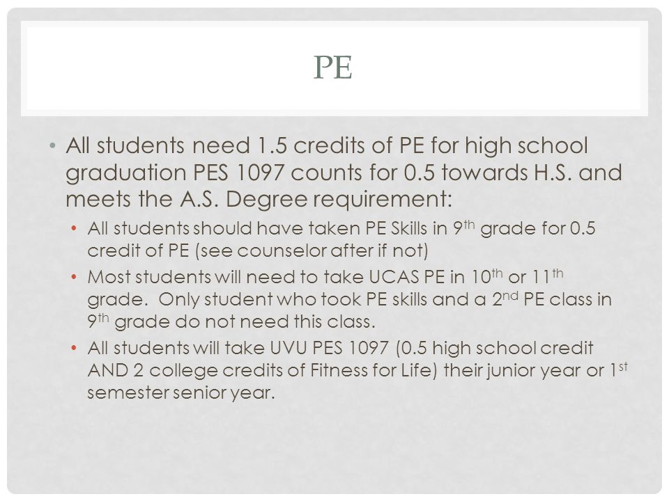 PE All students need 1.5 credits of PE for high school graduation PES 1097 counts for 0.5 towards H.S.