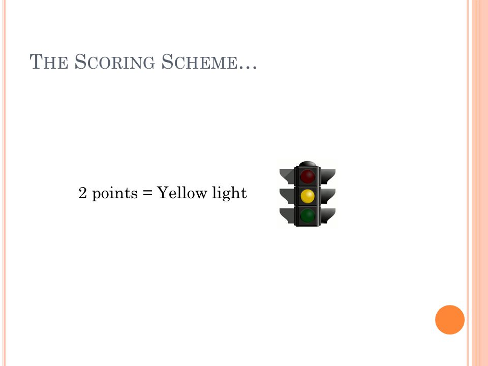 T HE S CORING S CHEME … 2 points = Yellow light