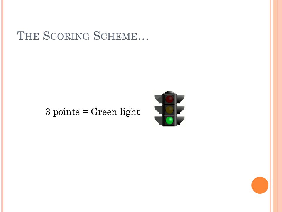 T HE S CORING S CHEME … 3 points = Green light