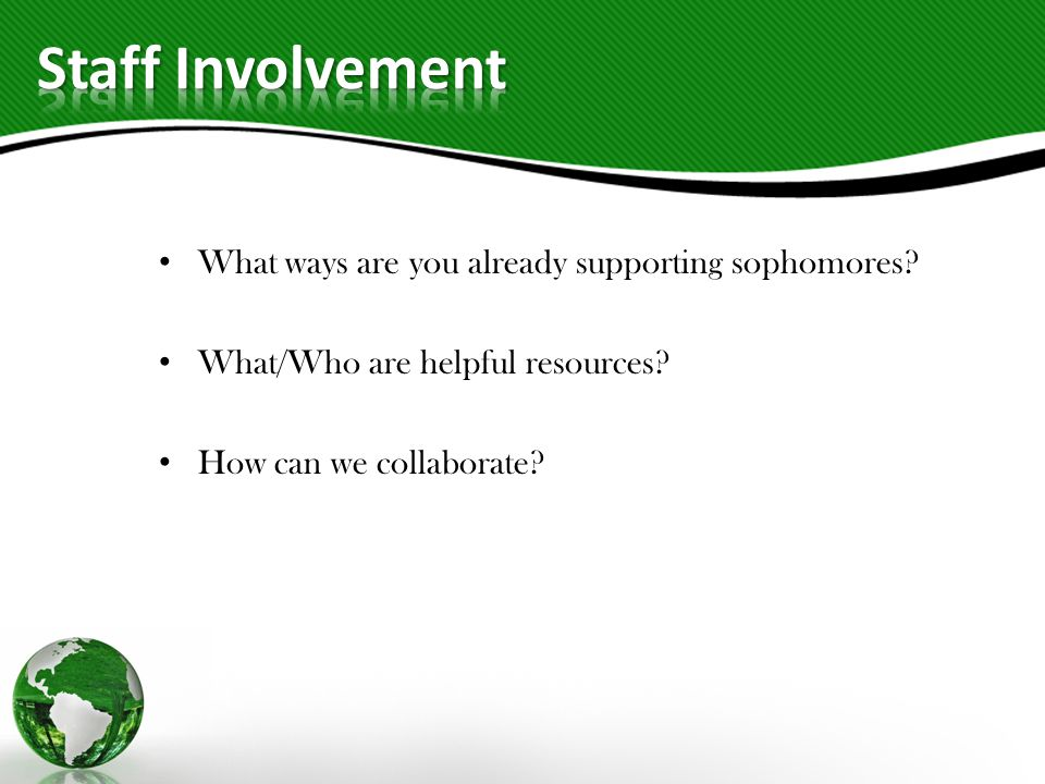 What ways are you already supporting sophomores. What/Who are helpful resources.
