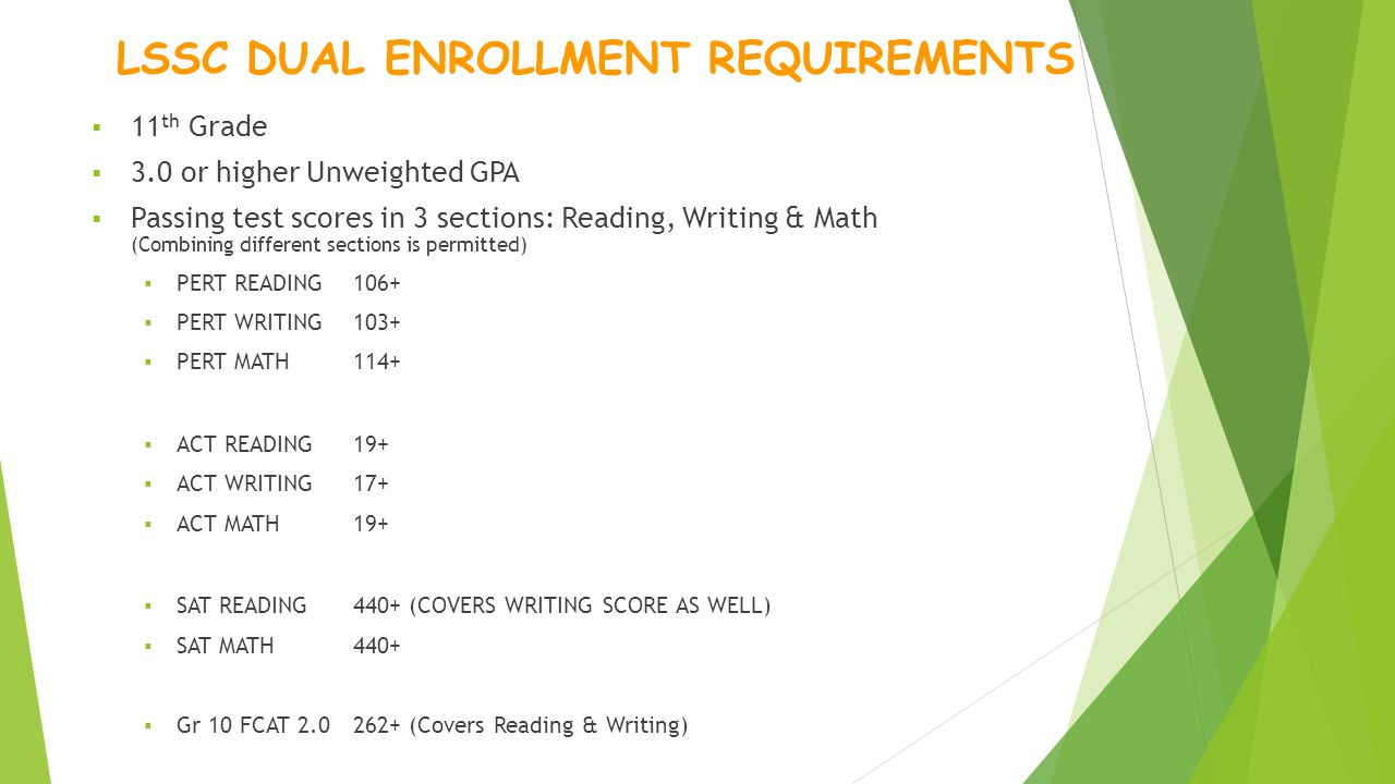 LSSC DUAL ENROLLMENT REQUIREMENTS  11 th Grade  3.0 or higher Unweighted GPA  Passing test scores in 3 sections: Reading, Writing & Math (Combining