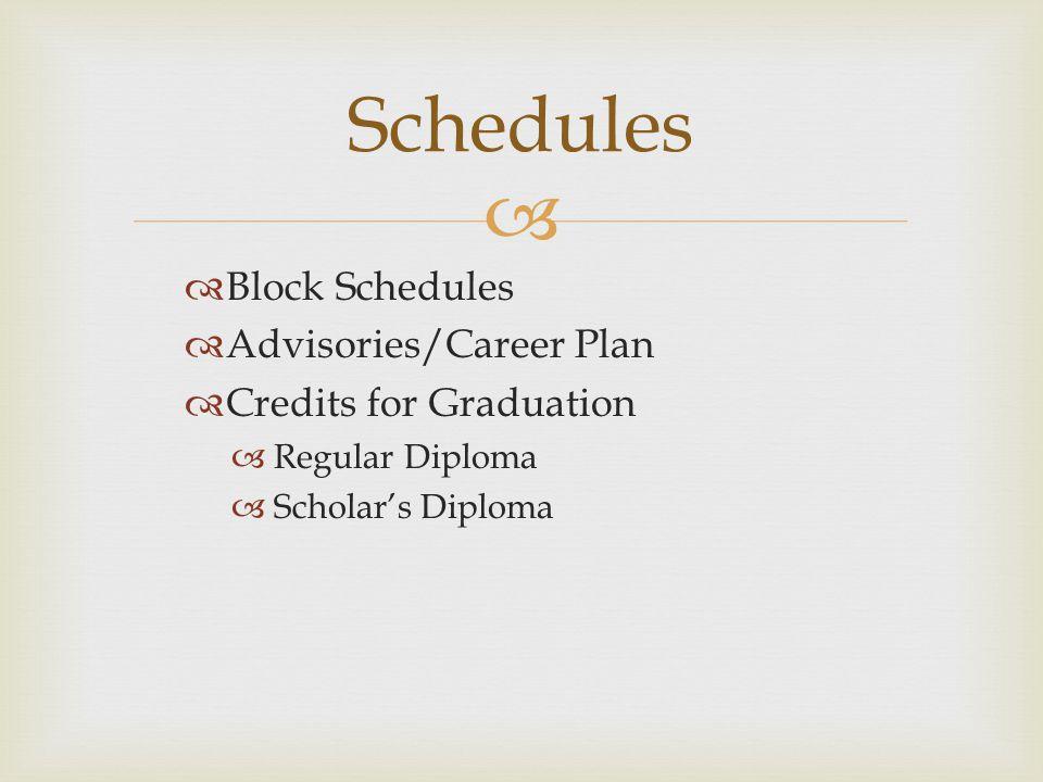   Block Schedules  Advisories/Career Plan  Credits for Graduation  Regular Diploma  Scholar's Diploma Schedules