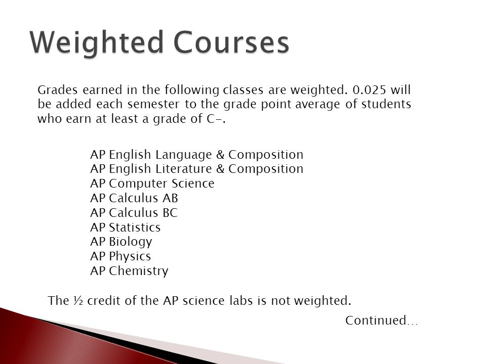 AP English Language & Composition AP English Literature & Composition AP Computer Science AP Calculus AB AP Calculus BC AP Statistics AP Biology AP Physics AP Chemistry Grades earned in the following classes are weighted.