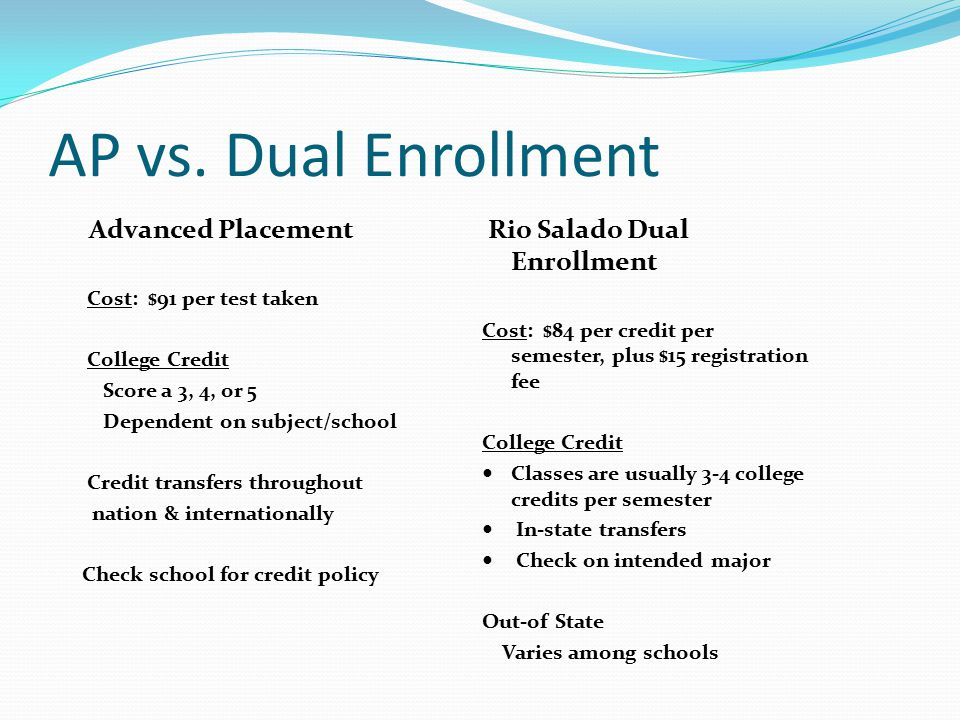 AP vs. Dual Enrollment Advanced Placement Cost: $91 per test taken College Credit Score a 3, 4, or 5 Dependent on subject/school Credit transfers thro