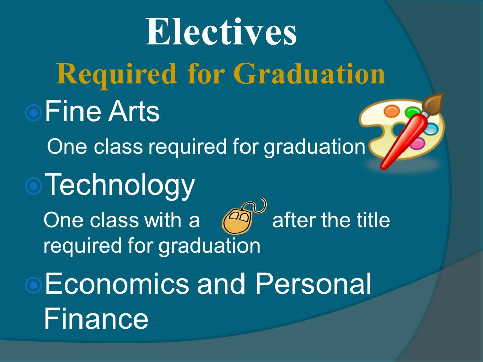 Electives Required for Graduation  Fine Arts One class required for graduation  Technology One class with a after the title required for graduation  Economics and Personal Finance