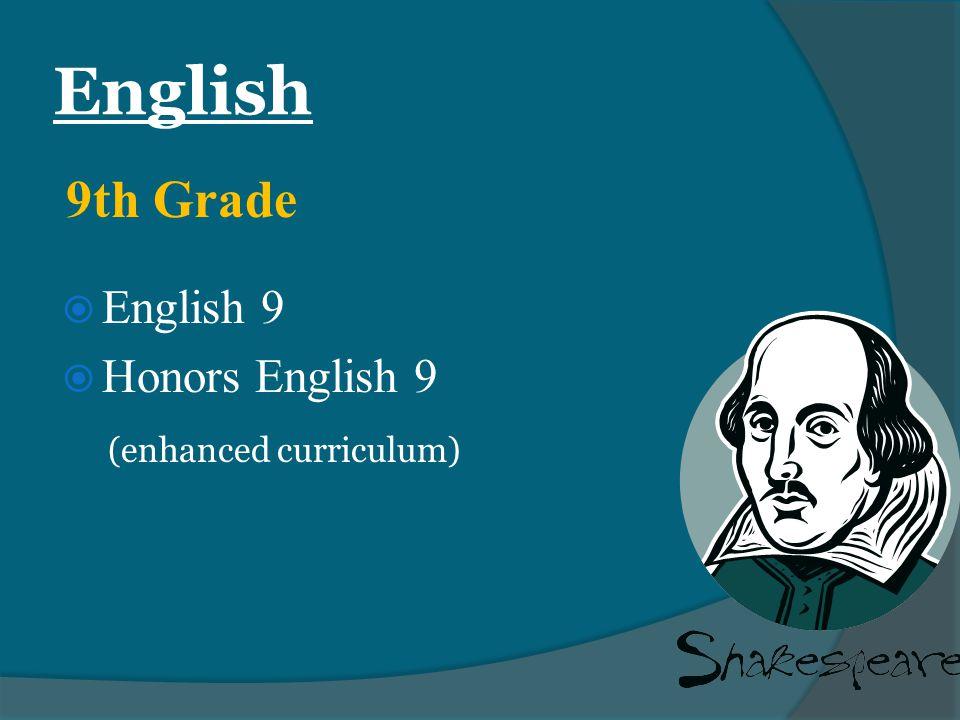 English  English 9  Honors English 9 (enhanced curriculum) 9th Grade