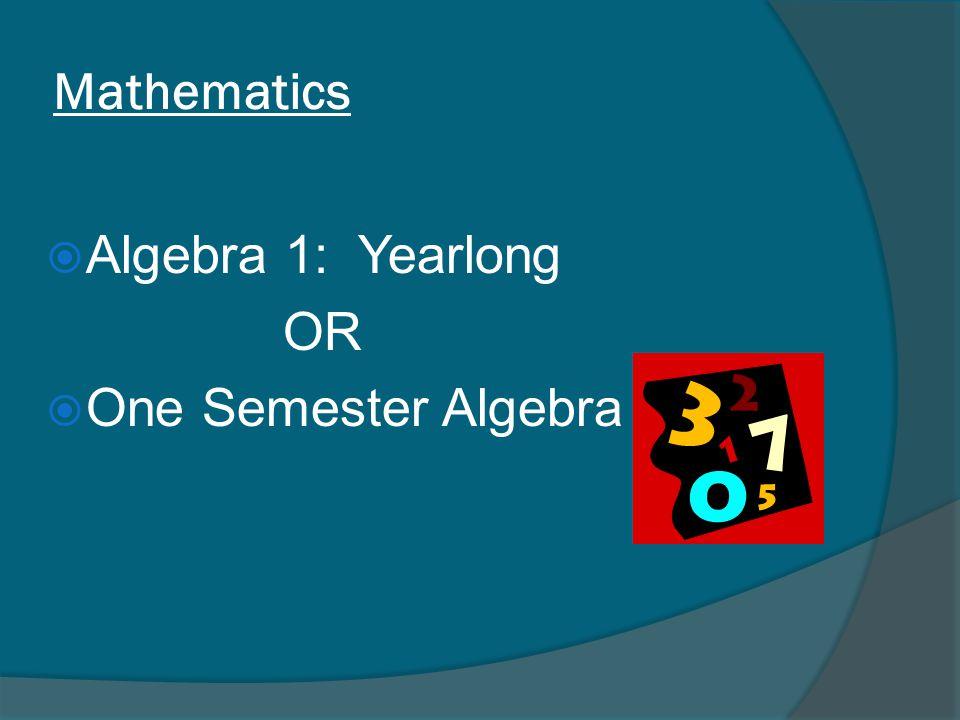Mathematics  Algebra 1: Yearlong OR  One Semester Algebra 1
