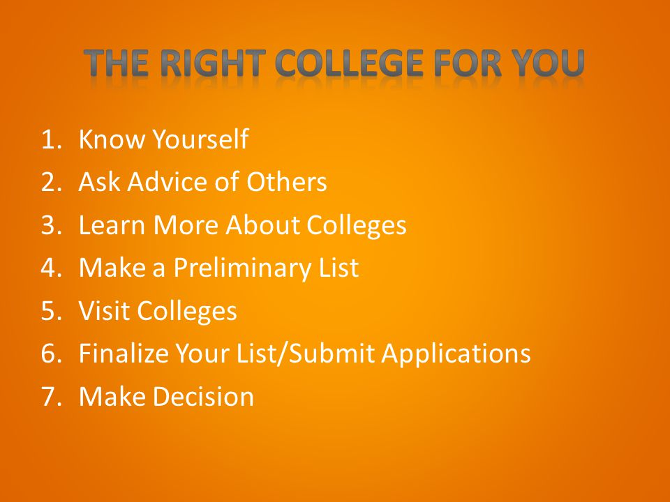 1.Know Yourself 2.Ask Advice of Others 3.Learn More About Colleges 4.Make a Preliminary List 5.Visit Colleges 6.Finalize Your List/Submit Applications