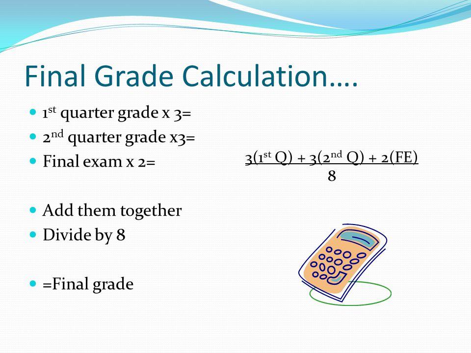 Final Grade Calculation….