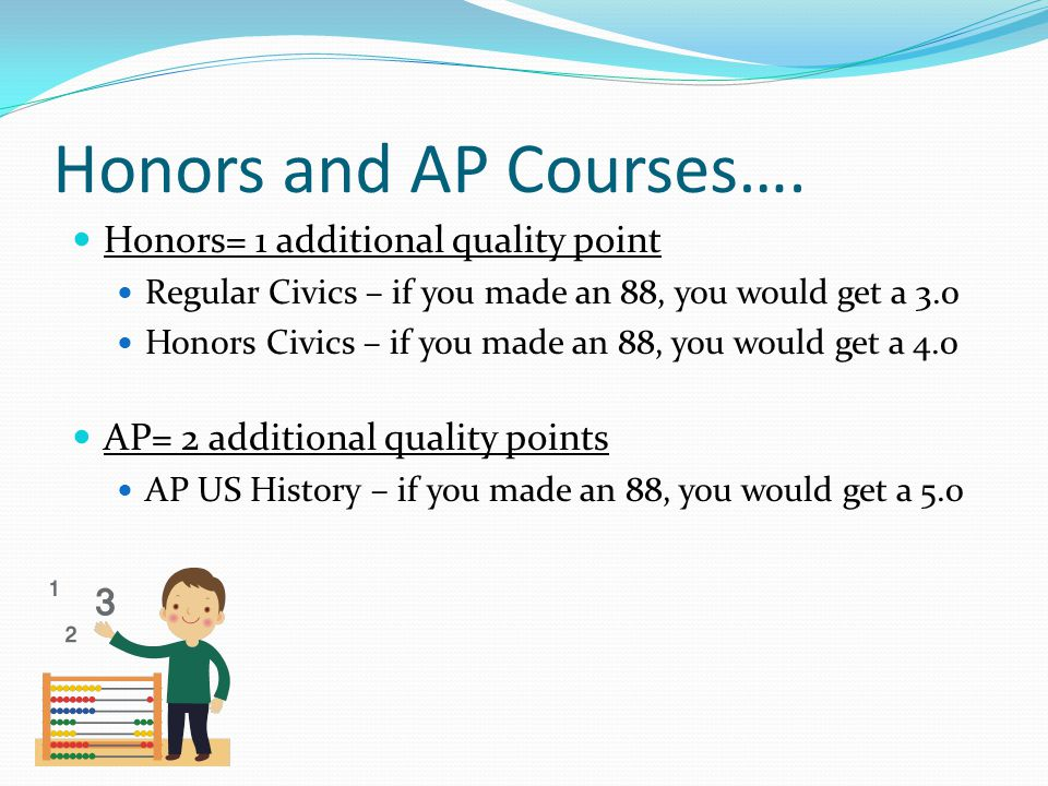 Honors and AP Courses…. Honors= 1 additional quality point Regular Civics – if you made an 88, you would get a 3.0 Honors Civics – if you made an 88,