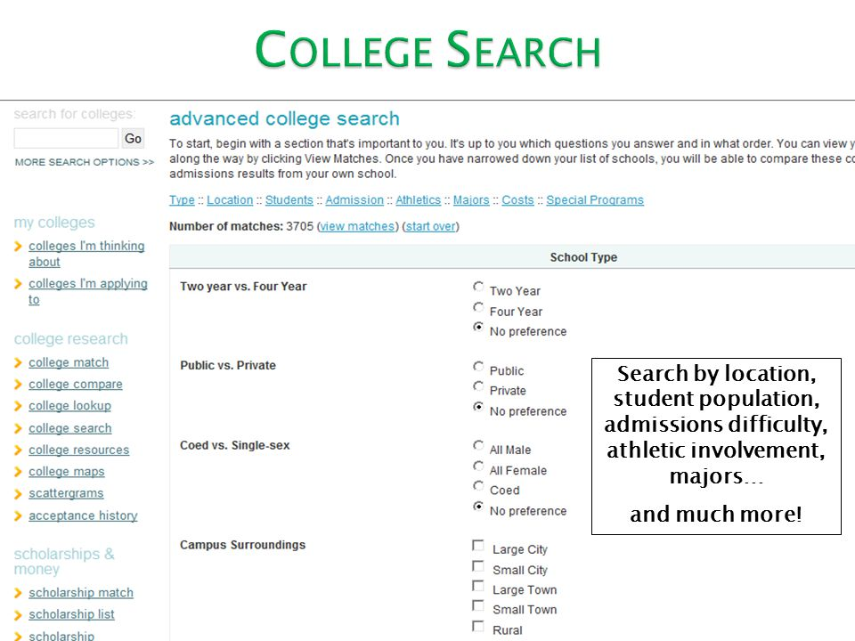 Search by location, student population, admissions difficulty, athletic involvement, majors… and much more!