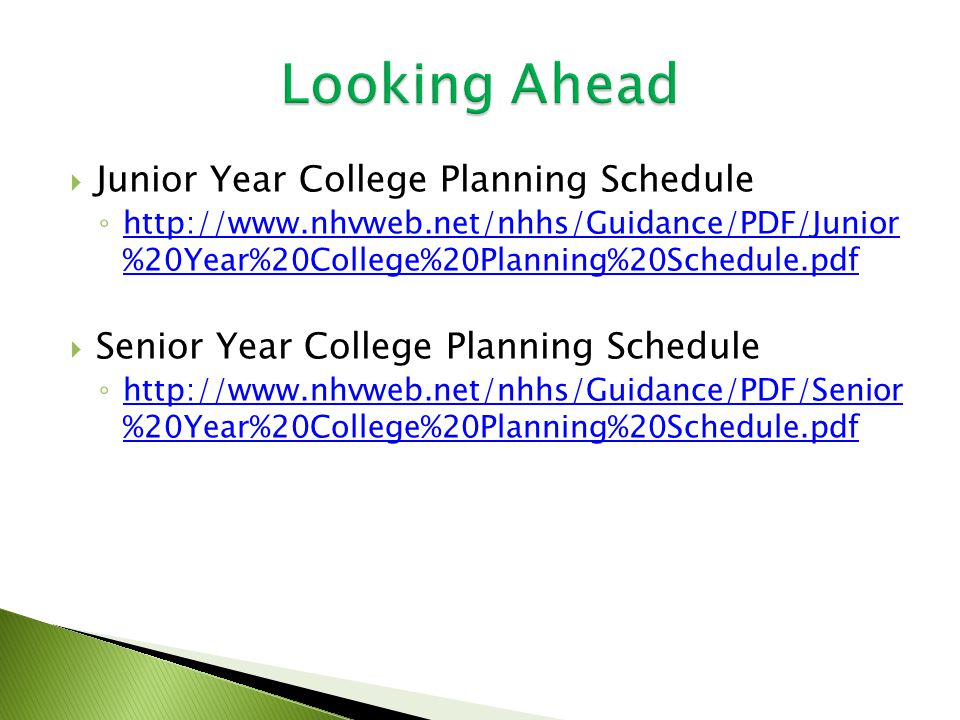  Junior Year College Planning Schedule ◦   %20Year%20College%20Planning%20Schedule.pdf   %20Year%20College%20Planning%20Schedule.pdf  Senior Year College Planning Schedule ◦   %20Year%20College%20Planning%20Schedule.pdf   %20Year%20College%20Planning%20Schedule.pdf