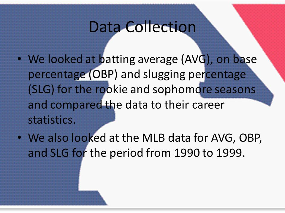 Data Collection We looked at batting average (AVG), on base percentage (OBP) and slugging percentage (SLG) for the rookie and sophomore seasons and compared the data to their career statistics.