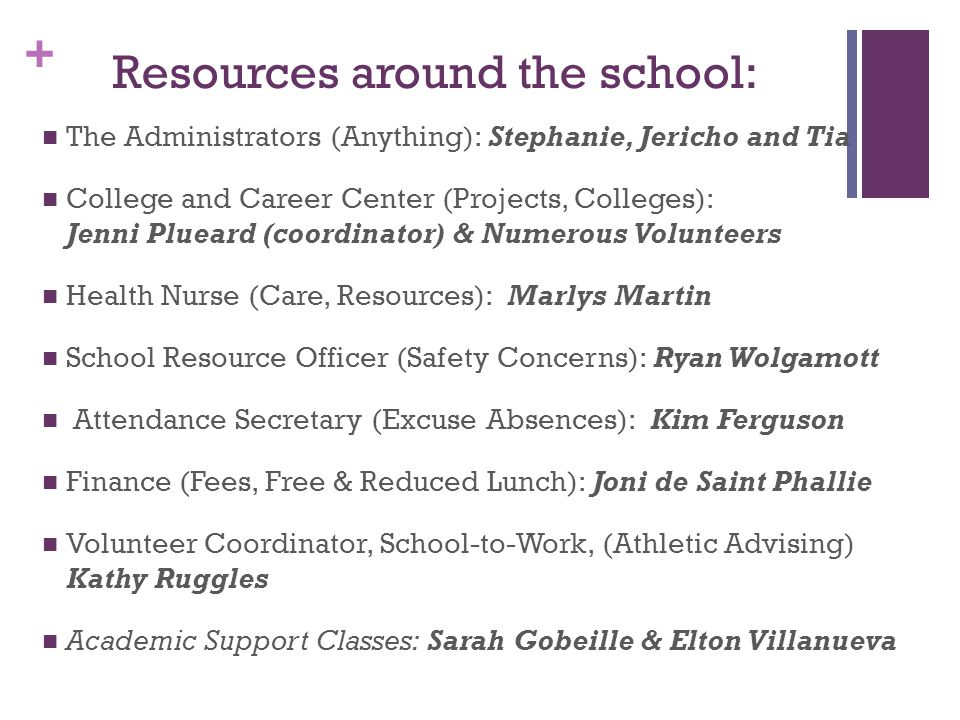 + Resources around the school: The Administrators (Anything): Stephanie, Jericho and Tia College and Career Center (Projects, Colleges): Jenni Plueard (coordinator) & Numerous Volunteers Health Nurse (Care, Resources): Marlys Martin School Resource Officer (Safety Concerns): Ryan Wolgamott Attendance Secretary (Excuse Absences): Kim Ferguson Finance (Fees, Free & Reduced Lunch): Joni de Saint Phallie Volunteer Coordinator, School-to-Work, (Athletic Advising) Kathy Ruggles Academic Support Classes: Sarah Gobeille & Elton Villanueva