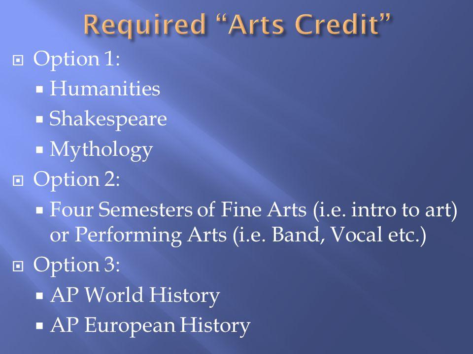  Option 1:  Humanities  Shakespeare  Mythology  Option 2:  Four Semesters of Fine Arts (i.e.