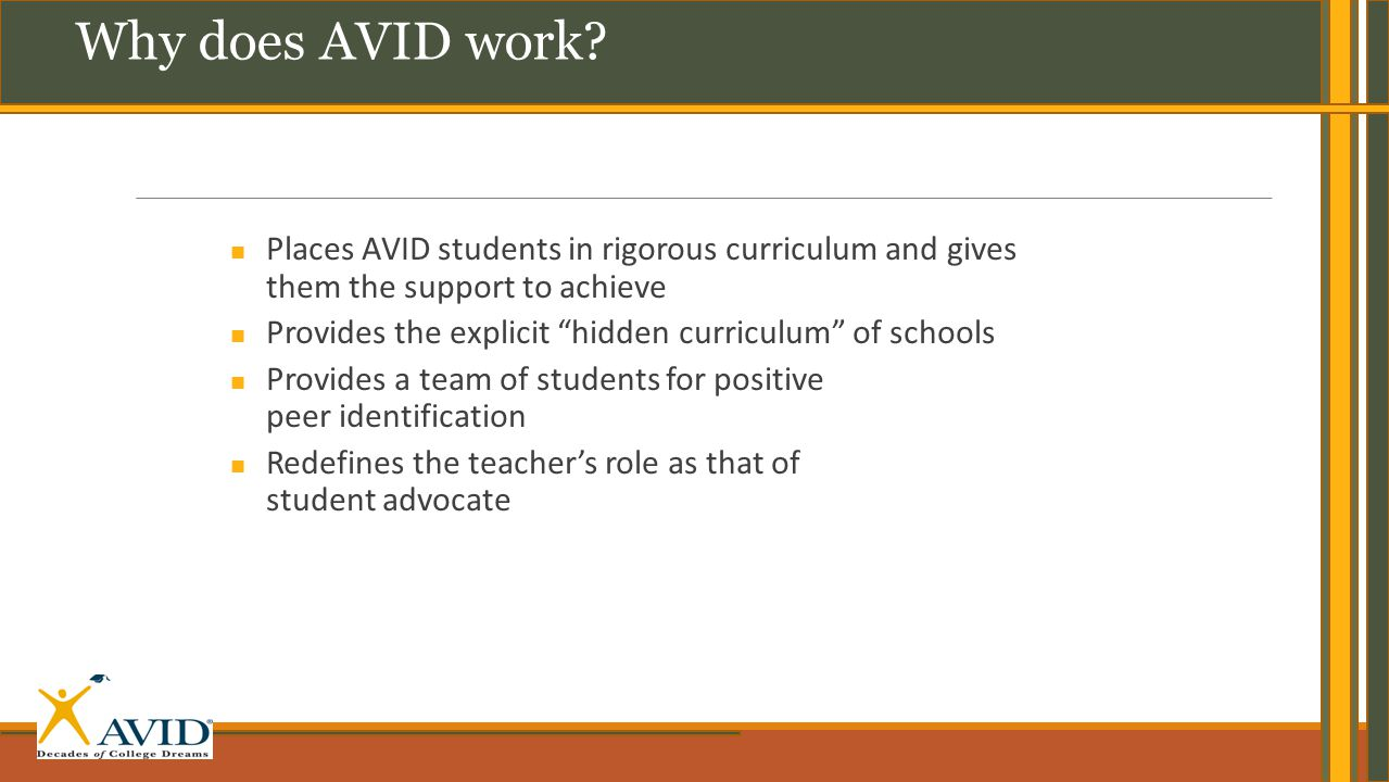 "Places AVID students in rigorous curriculum and gives them the support to achieve Provides the explicit ""hidden curriculum"" of schools Provides a team"