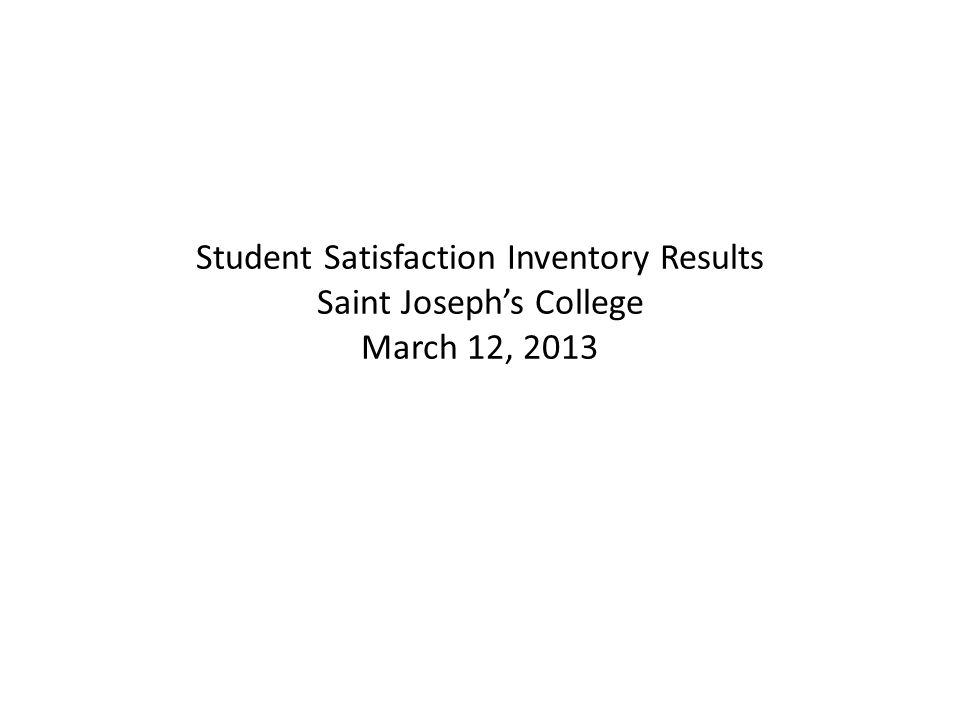 Student Satisfaction Inventory Results Saint Joseph's College March 12, 2013