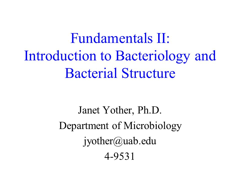 Fundamentals II: Introduction to Bacteriology and Bacterial Structure Janet Yother, Ph.D.