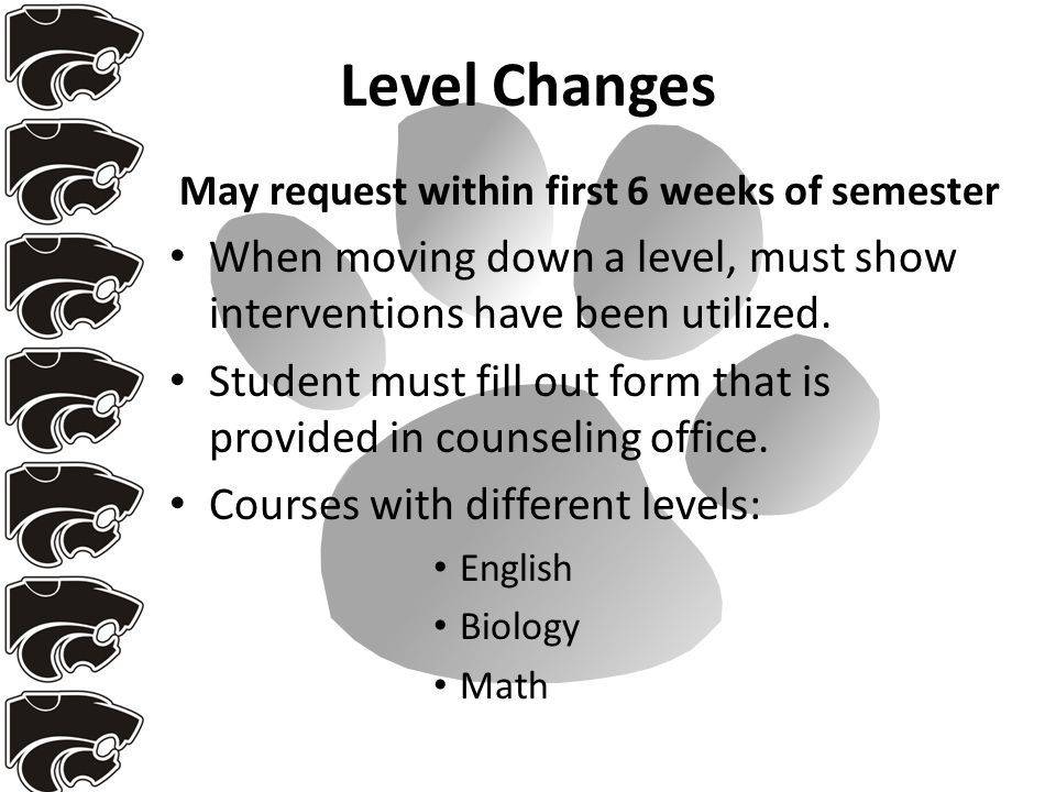 Level Changes May request within first 6 weeks of semester When moving down a level, must show interventions have been utilized.