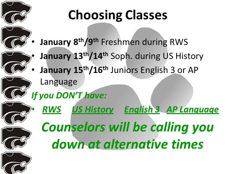 Choosing Classes January 8 th /9 th Freshmen during RWS January 13 th /14 th Soph.