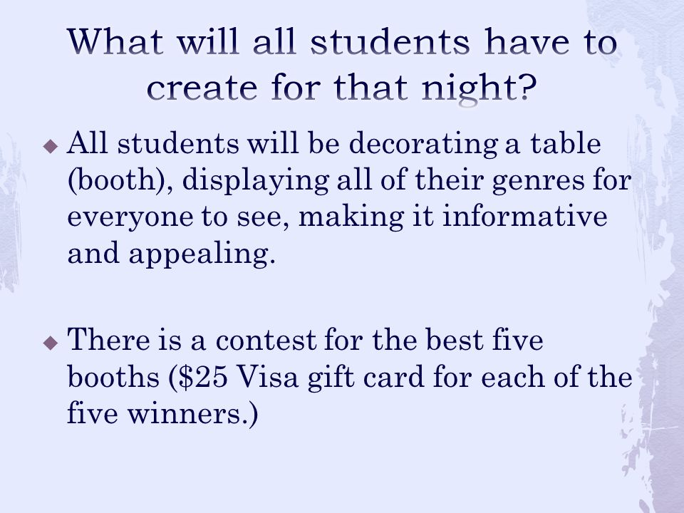  All students will be decorating a table (booth), displaying all of their genres for everyone to see, making it informative and appealing.