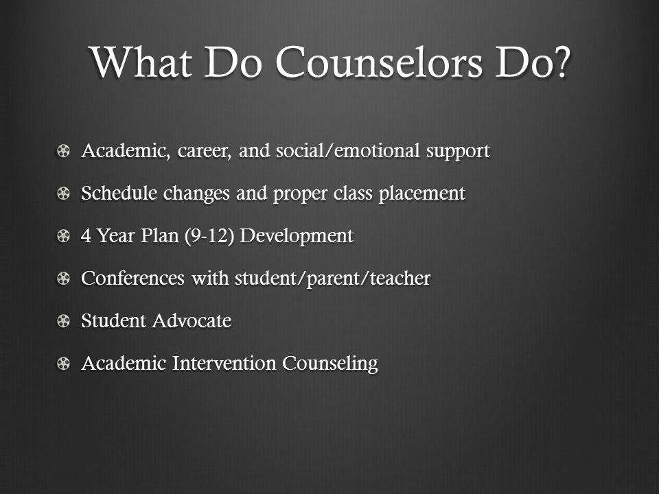 What Do Counselors Do.