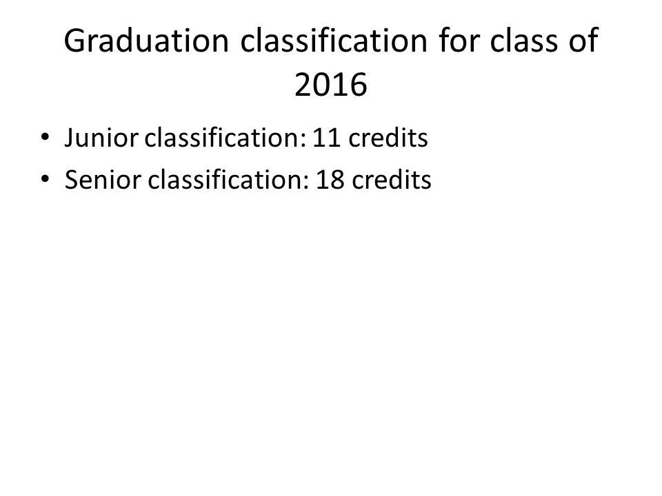 Graduation classification for class of 2016 Junior classification: 11 credits Senior classification: 18 credits
