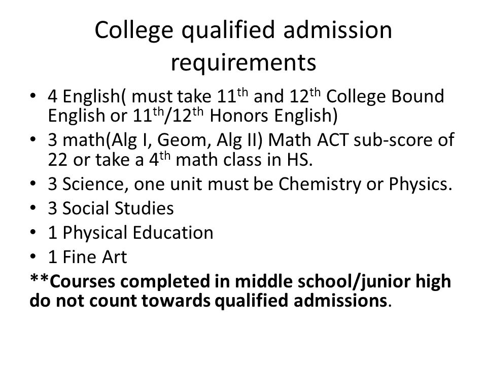 College qualified admission requirements 4 English( must take 11 th and 12 th College Bound English or 11 th /12 th Honors English) 3 math(Alg I, Geom, Alg II) Math ACT sub-score of 22 or take a 4 th math class in HS.
