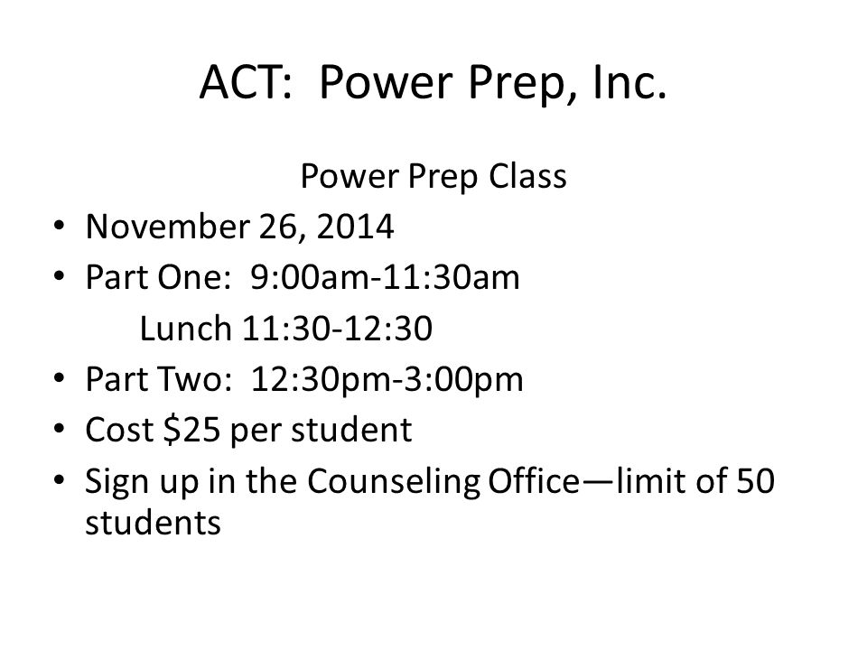 ACT: Power Prep, Inc.