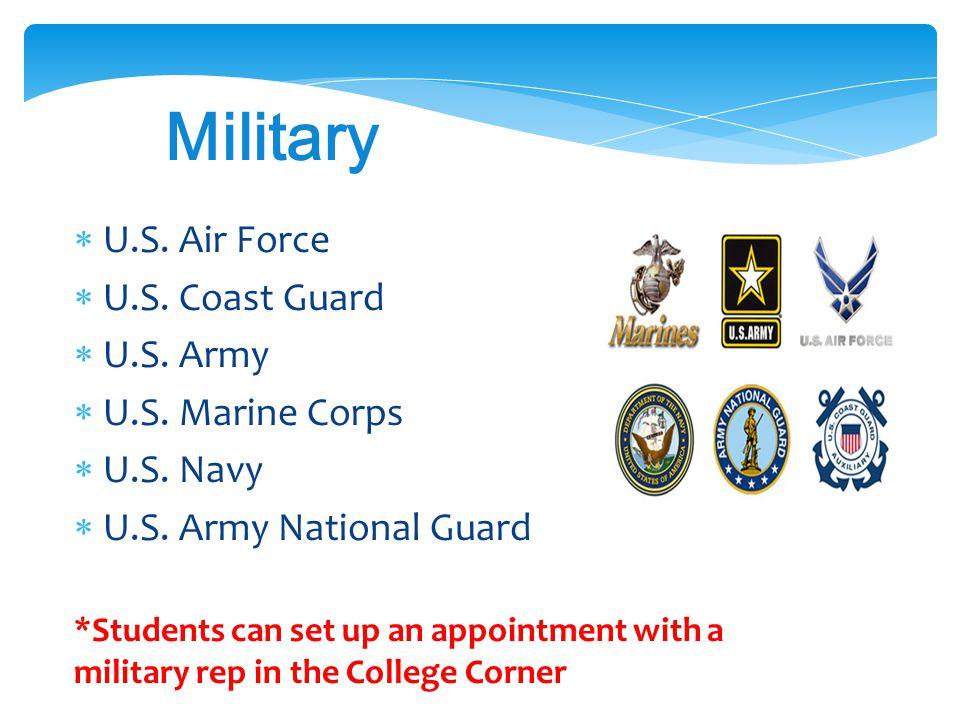 Military  U.S. Air Force  U.S. Coast Guard  U.S.