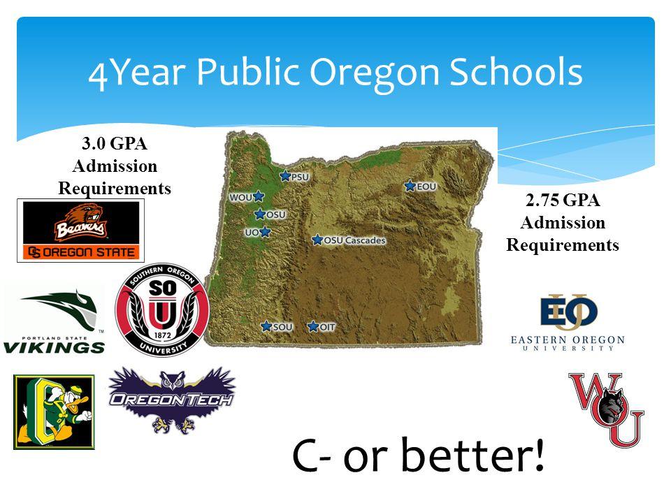 4Year Public Oregon Schools 3.0 GPA Admission Requirements 2.75 GPA Admission Requirements C- or better!