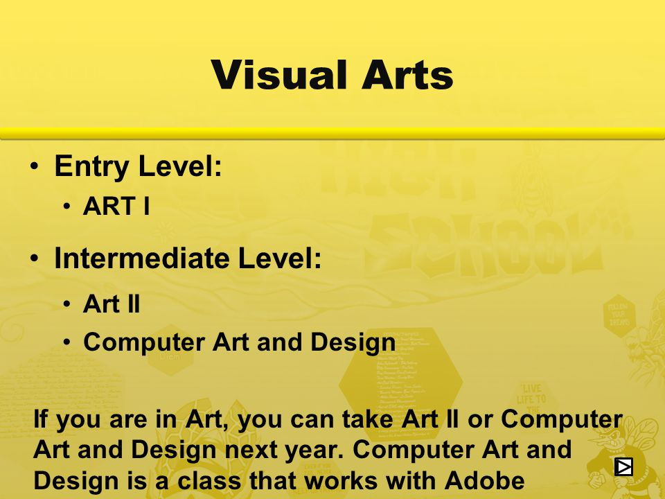 Entry Level: ART I Intermediate Level: Art II Computer Art and Design If you are in Art, you can take Art II or Computer Art and Design next year.