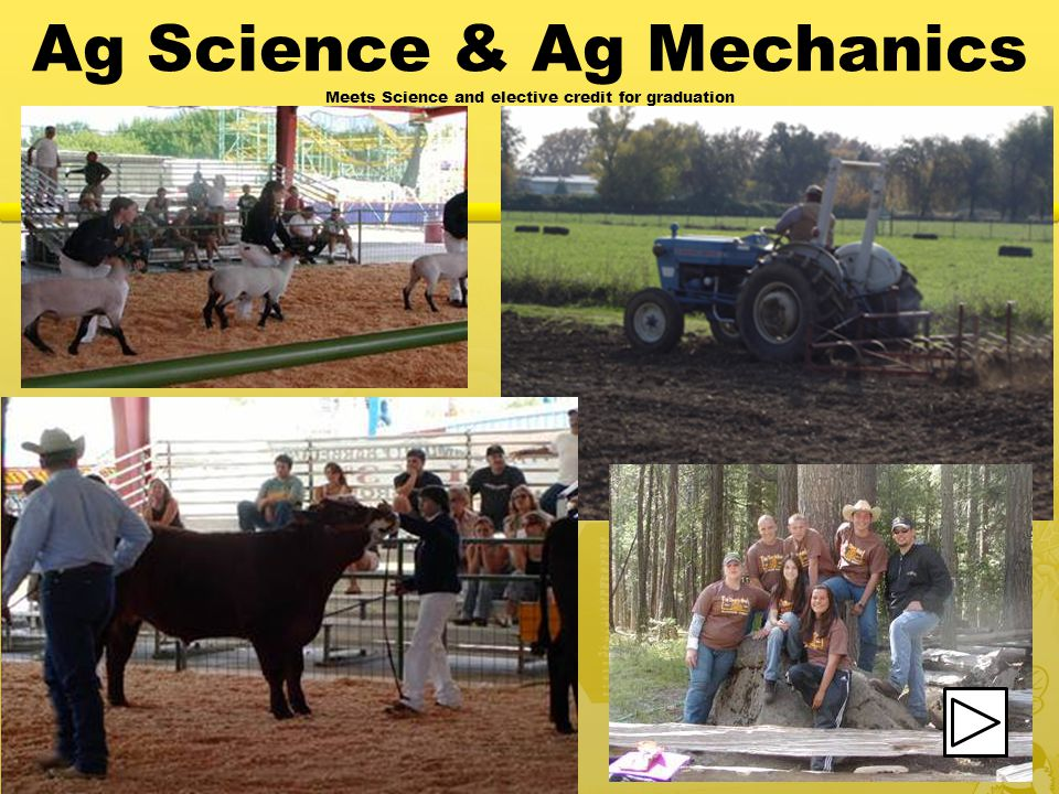 Ag Science & Ag Mechanics Meets Science and elective credit for graduation
