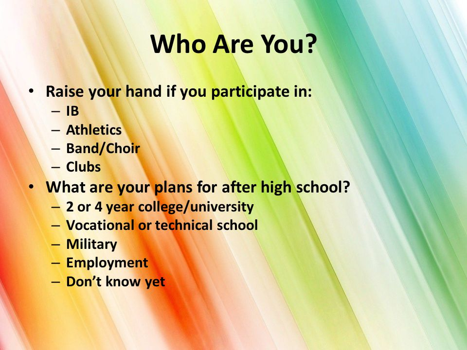 Who Are You? Raise your hand if you participate in: – IB – Athletics – Band/Choir – Clubs What are your plans for after high school? – 2 or 4 year col