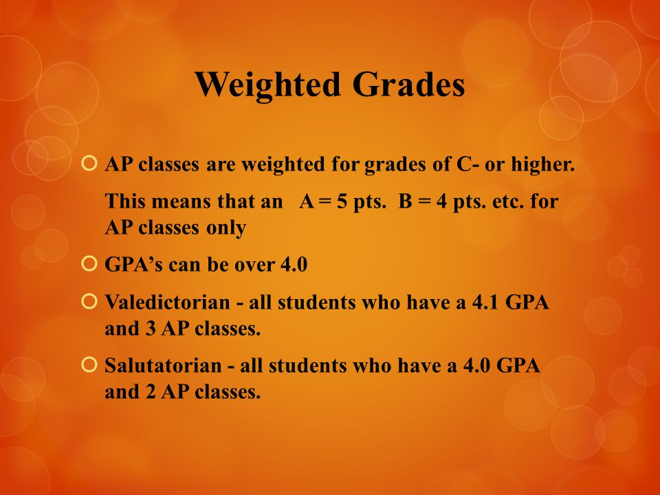 Weighted Grades  AP classes are weighted for grades of C- or higher.