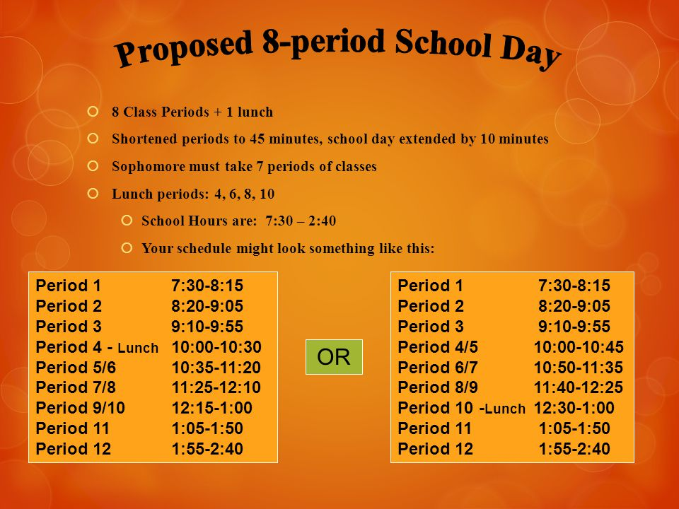  8 Class Periods + 1 lunch  Shortened periods to 45 minutes, school day extended by 10 minutes  Sophomore must take 7 periods of classes  Lunch pe