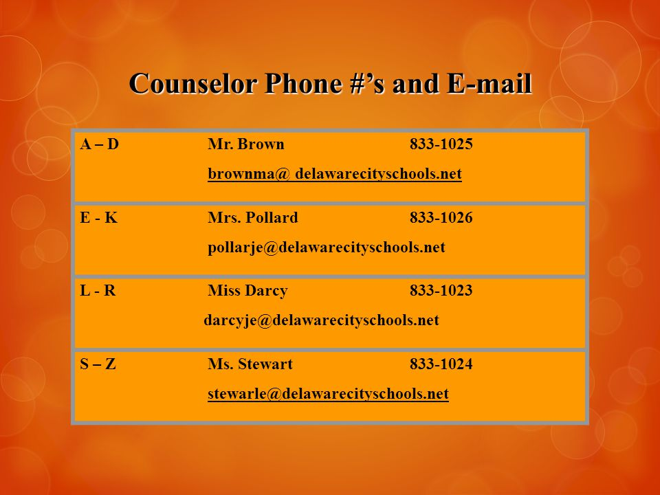 Counselor Phone #'s and E-mail A – D Mr. Brown833-1025 brownma@ delawarecityschools.net E - K Mrs.