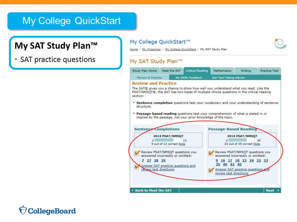 My College QuickStart My SAT Study Plan™ SAT practice questions